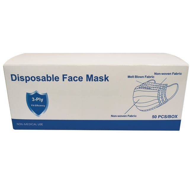 Excellerations Disposable Face Masks Adult Size 50 Pack
