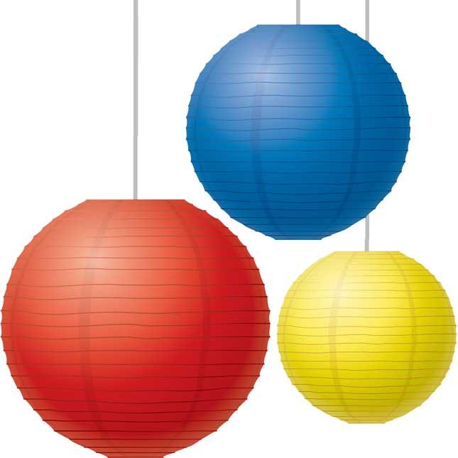 Red, Yellow, And Blue Paper Lanterns - 3 lanterns