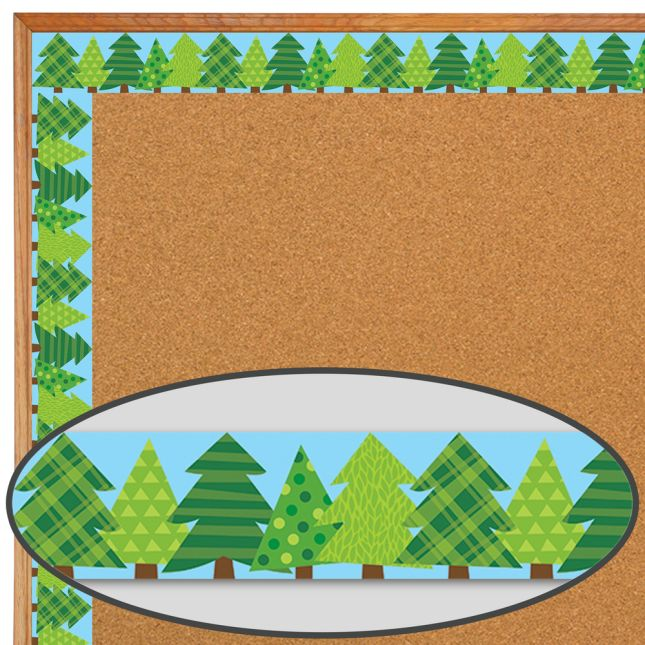 Pine Trees Woodland Friends Border Trim