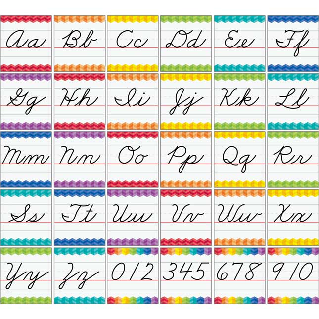 Cursive Letter Alphabet Handwriting Bulletin Board Cards