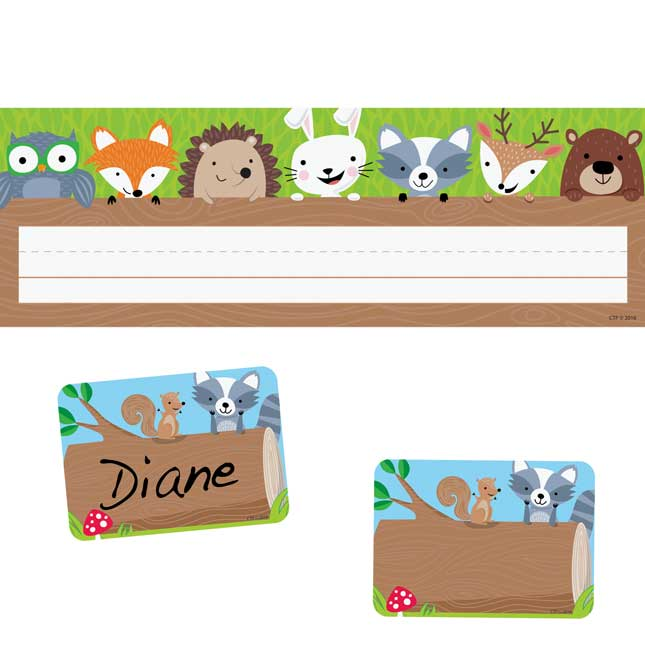 Woodland Friends Name Tags And Name Plates Set