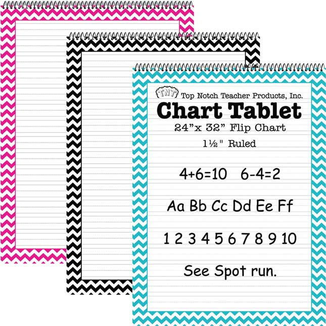 Chevron Chart Tablets: Pink, Teal, And Black - 3 tablets