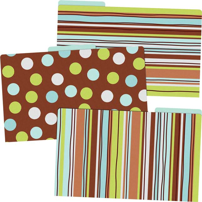 Stripes & Dots Legal File Folders - 9 Pack