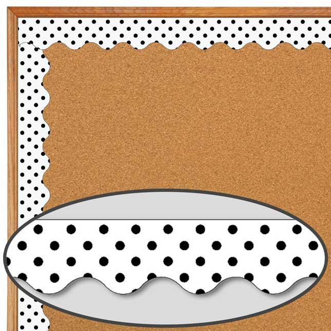 Black Polka Dots On White Scalloped Border Trim - 1 border trim