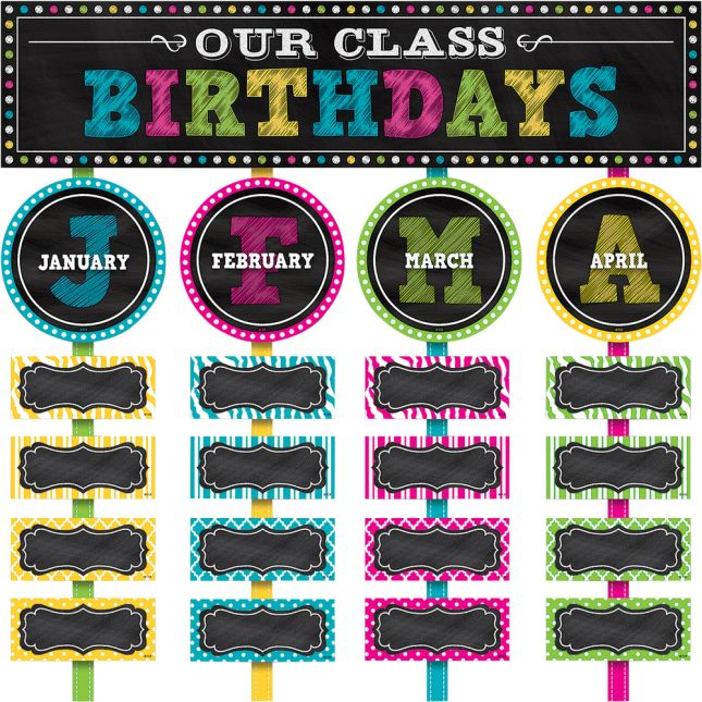 Chalkboard Brights Our Class Birthdays Mini Bulletin Board Kit - 61 pieces