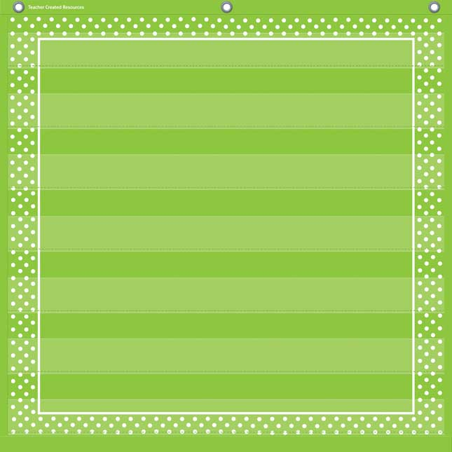 Lime Polka Dots Pocket Chart With 7 Pockets