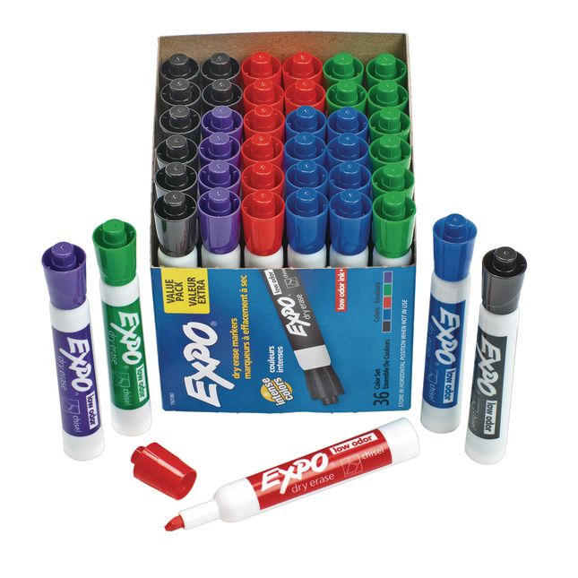 Expo Low Odor Chisel Markers 36 ct. - Assorted - 36 markers