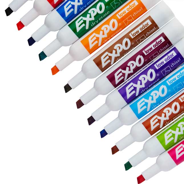 Expo Low Odor Chisel Markers 12 ct. - Assorted