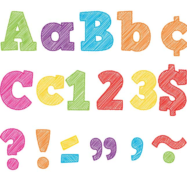 "Colorful Scribble Bold Block 4"" Letter Cutouts"