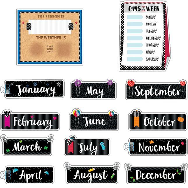 Bold and Bright Calendar Bulletin Board Set