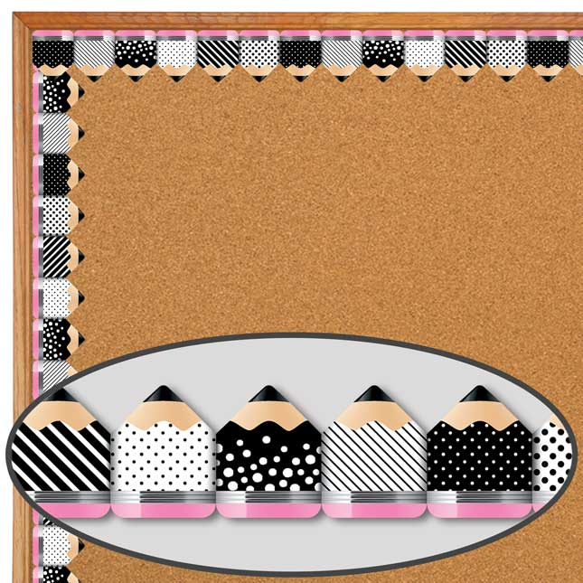 Bold and Bright Striped and Spotted Pencils Border Trim