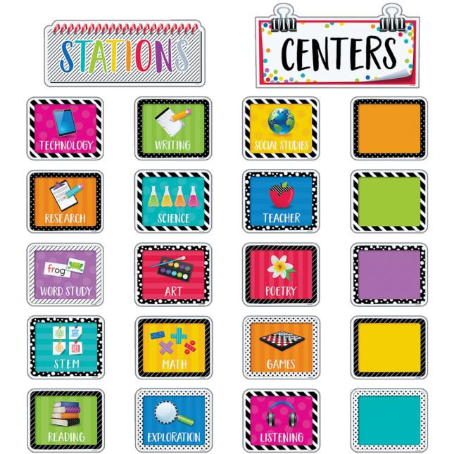 Bold and Bright Classroom Centers Bulletin Board Kit