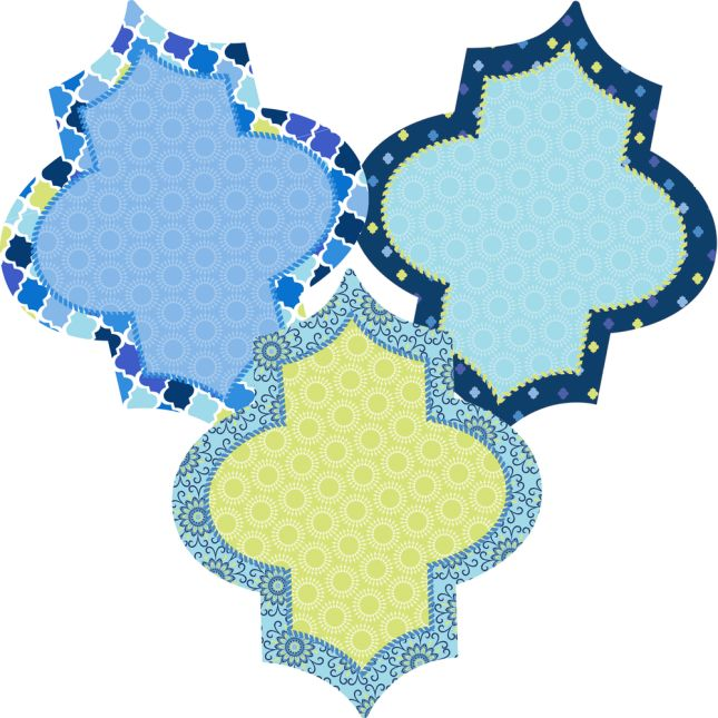 Blue Harmony Diamond Paper Cutouts