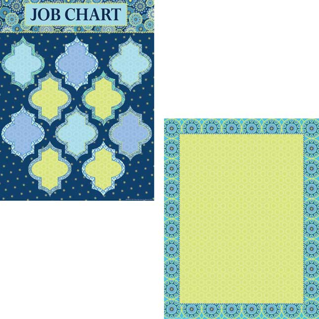 """Blue Harmony 17"""" By 22"""" Charts - Set Of 4"""