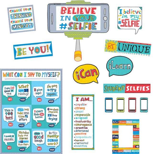 Emoji Fun Believe In Your #Selfie Bulletin Board Set