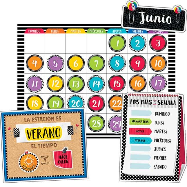 Calendar Days Of The Week In Spanish.Bold And Bright Spanish Calendar Bulletin Board Set