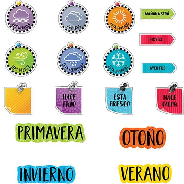Bold And Bright Spanish Calendar Bulletin Board Set