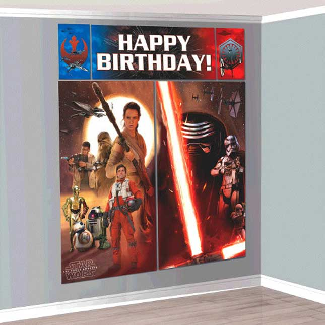 Star Wars The Force Awakens™ Scene Setter® Wall Decorating Birthday Kit