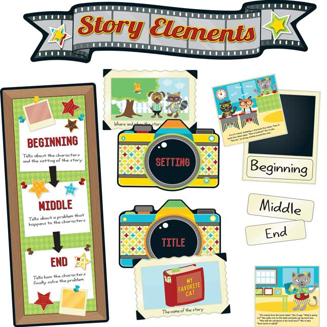 Hipster Story Elements Bulletin Board Set