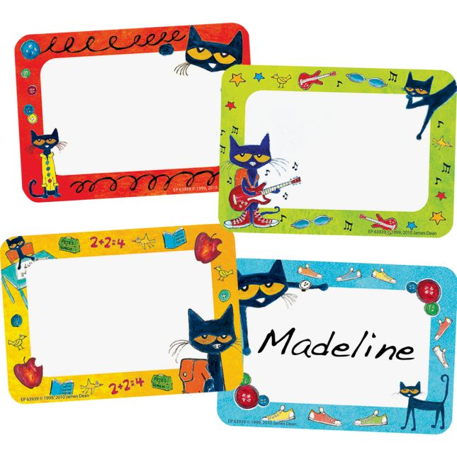 picture about Printable Name Tags for Cubbies identified as Pete The Cat® Groovy Track record Tag Labels