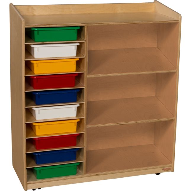 Wood Designs™ Mobile Sensorial Discovery Shelving - Assorted Trays - 1 storage unit, 10 trays