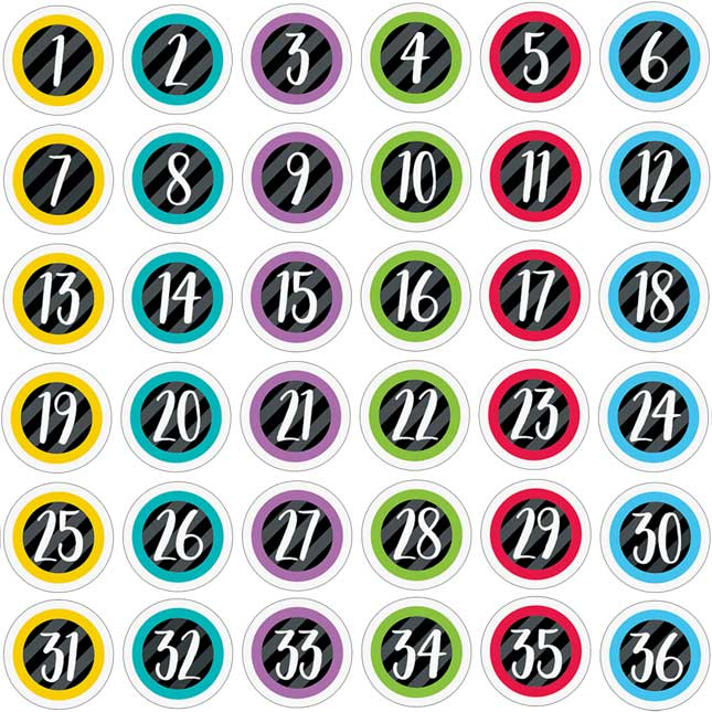 Bold And Bright Student Number Stickers