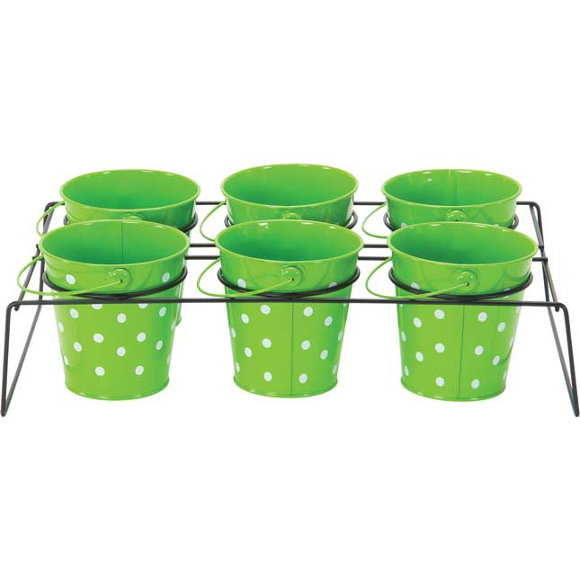 Classroom Supply Caddy With Polka Dot Buckets