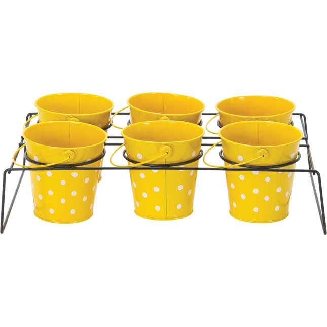 Classroom Supply Caddy With Polka Dot Buckets - 1 caddy, 6 buckets