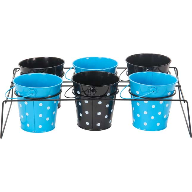 Classroom Supply Caddy With Black And Turquoise Polka Dot Buckets