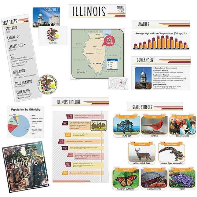 Illinois State Facts Bulletin Board Set