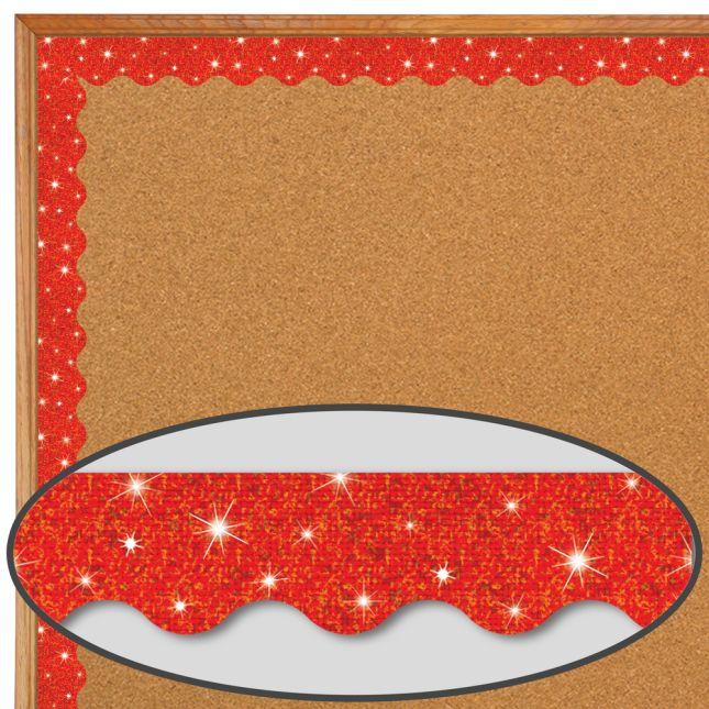 Red Sparkle Scalloped Border Trim - 32.5 feet of border trim