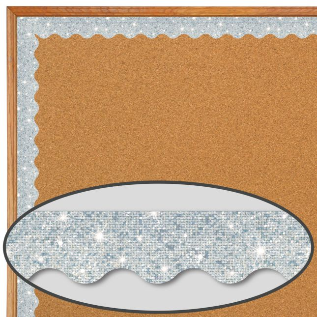 Silver Sparkle Scalloped Border Trim - 32.5 feet of border trim
