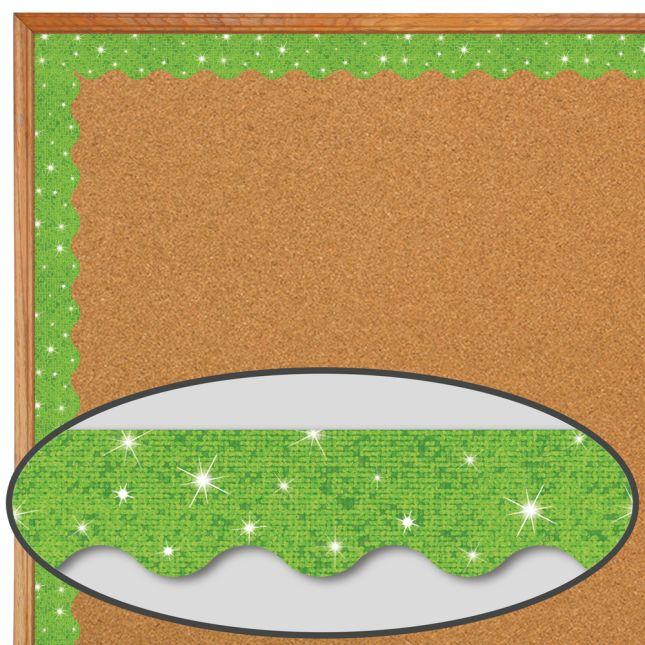 Lime Sparkle Scalloped Border Trim - 32.5 feet of border trim