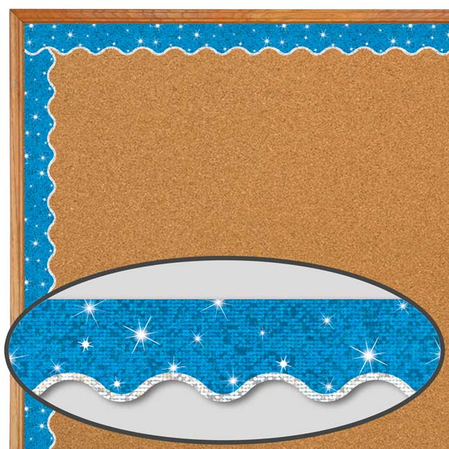Blue Sparkle Plus Silver Trim Scalloped Border Trim