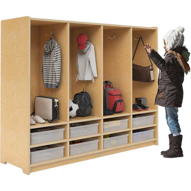 Preschool Eight-Section Coat Locker With Trays