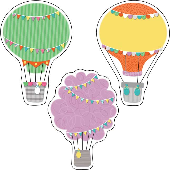 Up And Away Hot Air Balloons Cutouts - 36 cutouts