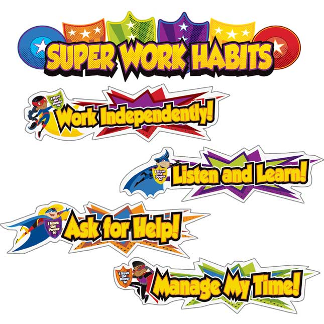 Super Power Super Work Habits Mini Bulletin Board Set