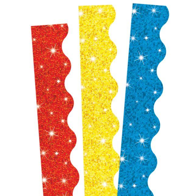 Primary Colors Sparkle Scalloped Border Trim Bundle