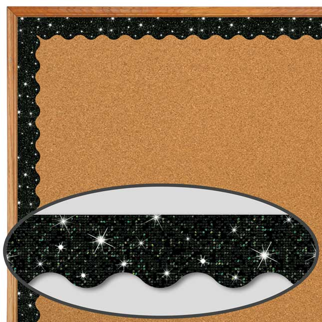 Black and Silver Sparkle Scalloped Border Trim Bundle - 65 feet of border trim