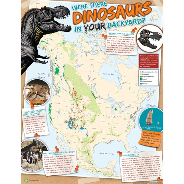 """Smithsonian Amazing Dinosaurs """"Were Dinosaurs in Your Backyard?"""" Poster"""