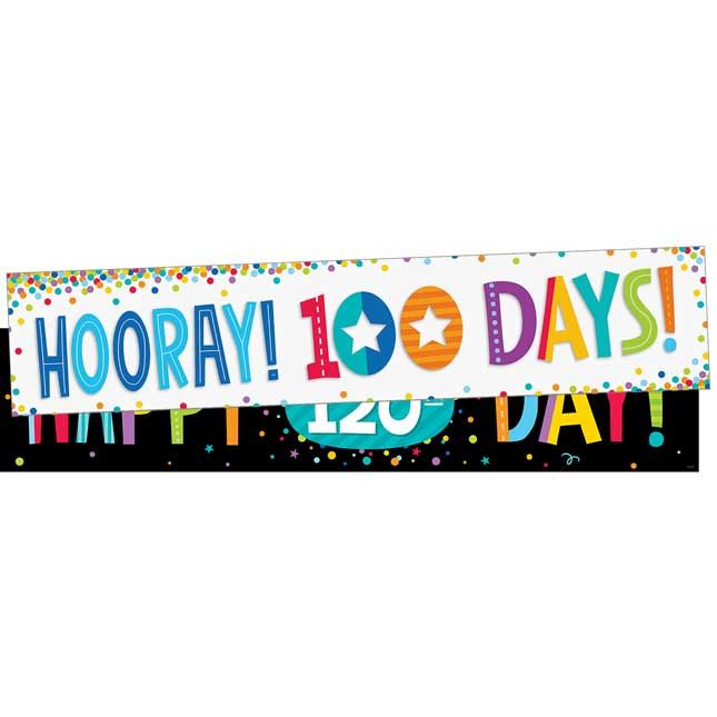 Hooray! 100th Day and 120th Day Double-Sided Banner
