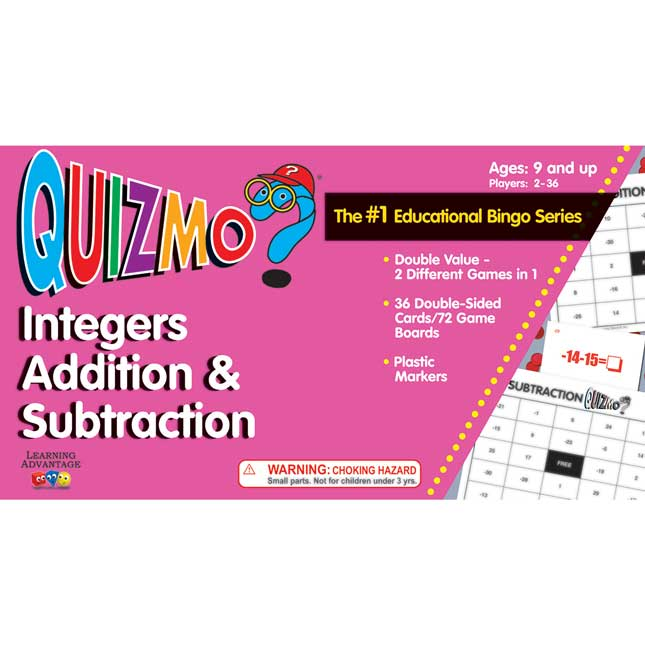 Quizmo Integers Addition and Subtraction