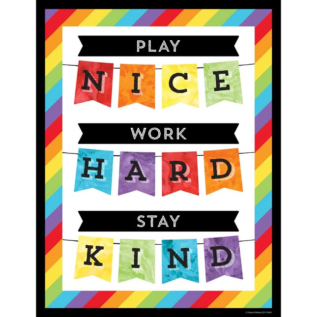 Celebrate Learning Play Nice Work Hard Stay Kind Chart
