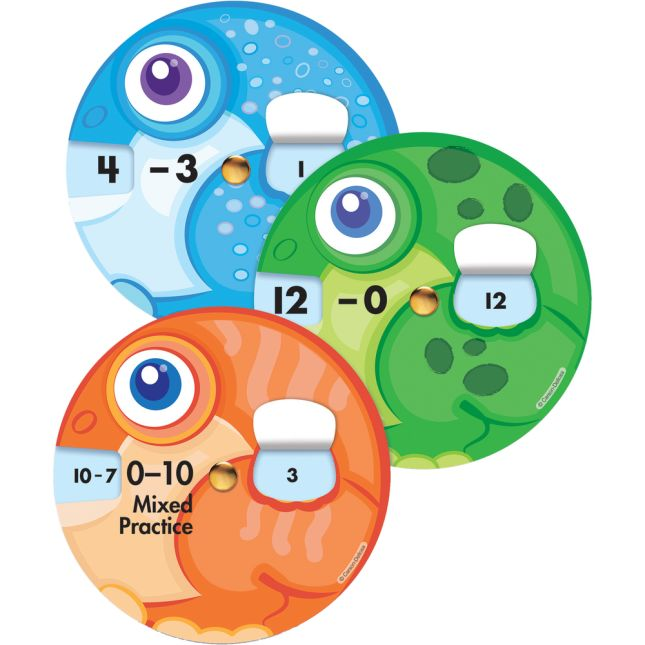 Math Wheels: Subtraction Facts Curriculum Cutouts - 18 wheels