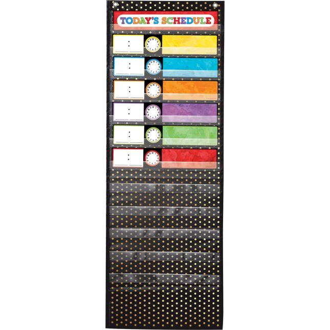 Aim High Gold Polka Dot Deluxe Scheduling Pocket Chart