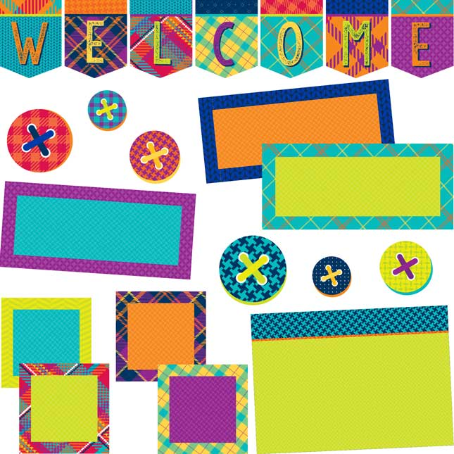 Plaid Attitude Welcome Bulletin Board Set