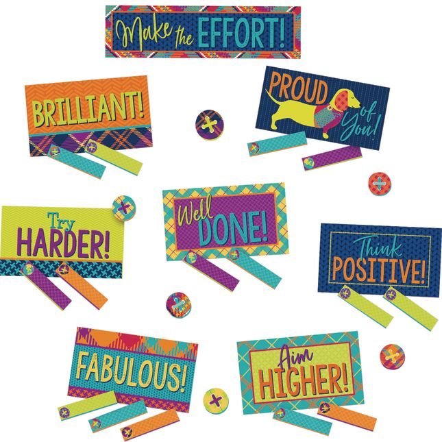Plaid Attitude Class Management Mini Bulletin Board Set