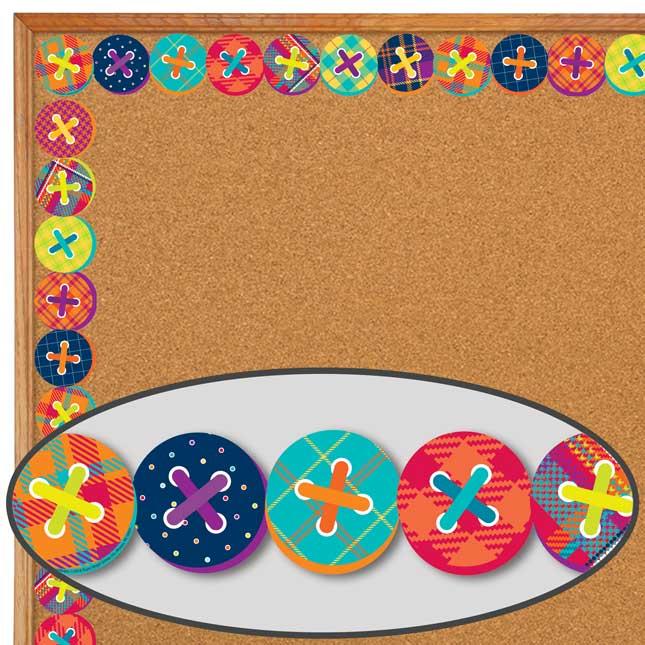 Plaid Attitude Buttons Deco Trim® Extra Wide Diecut