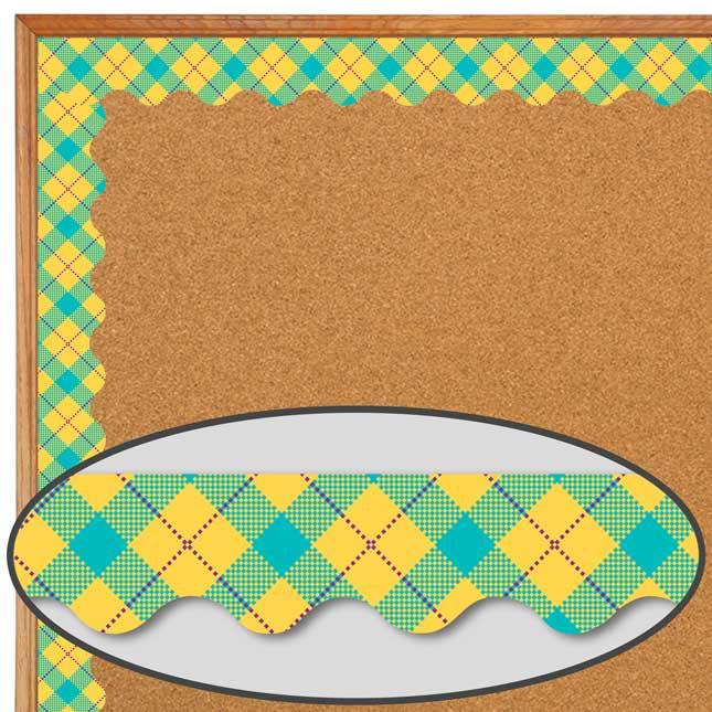 Plaid Attitude Yellow Argyle Deco Trim® Extra Wide Diecut