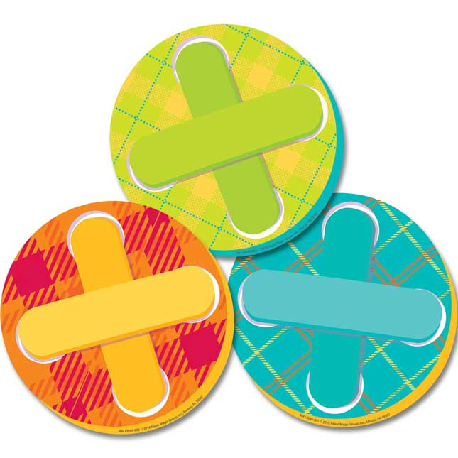 Plaid Attitude Buttons Paper Cutouts